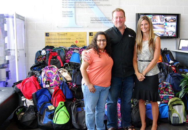 We supplied <strong>over 100 backpacks</strong> full of school supplies for kids in need for the Drenk Foundation.