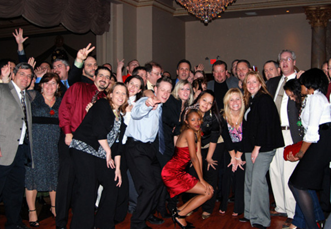 We celebrate at the end of each year with our huge Holiday Party.