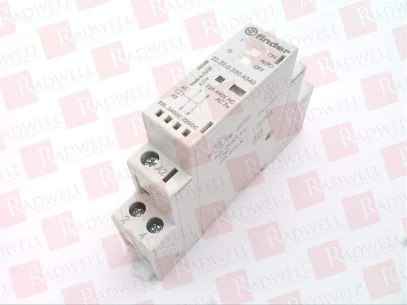 Finder 223202304340 Modular Contactor 230/ V AC//DC 1NO//1NC 25/ A agsno2/ Mechanic//Selector with LED Indicator