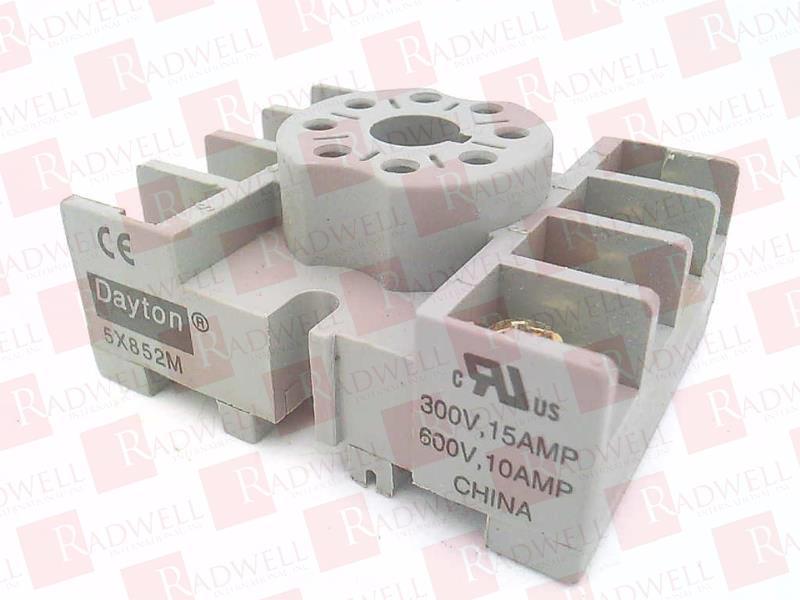 DAYTON 5X852 Relay Socket,Standard,Octal,8 Pin,15A