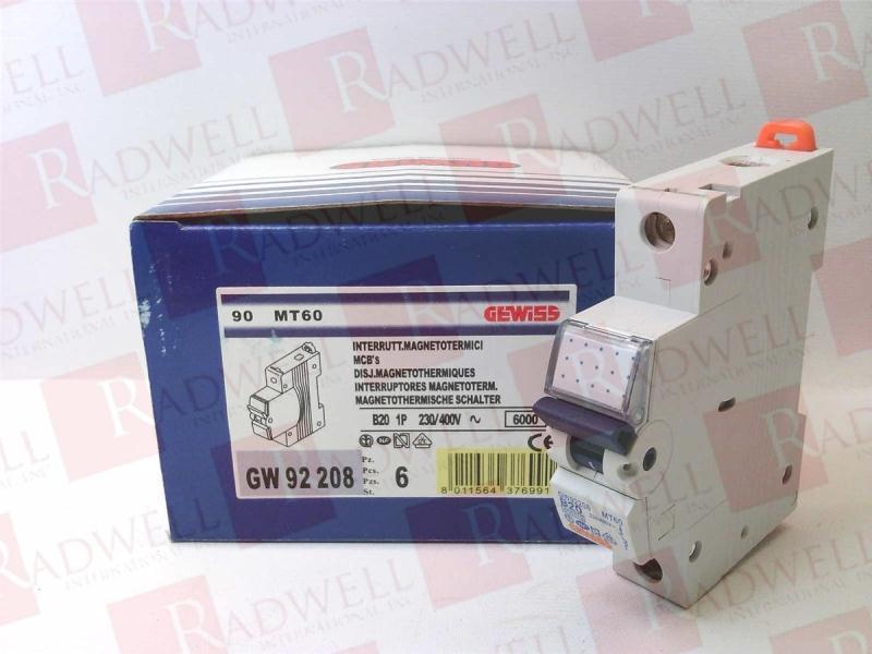 GEWISS 20 AMP TYPE B 6 kA MCB CIRCUIT BREAKER GW92208 MT60