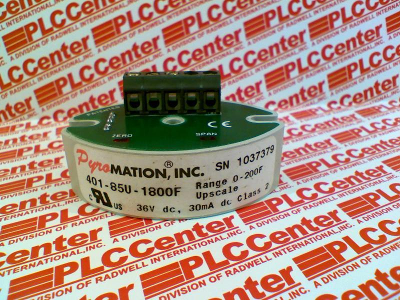 PYROMATION INC 401-85U-1800F