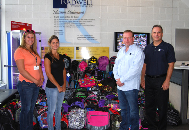 We supplied <strong>over 176 backpacks</strong> full of school supplies for kids in need for the Drenk Foundation.